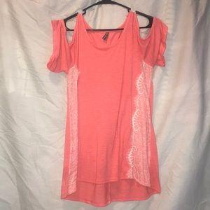 Dark Pink off the shoulder shirt